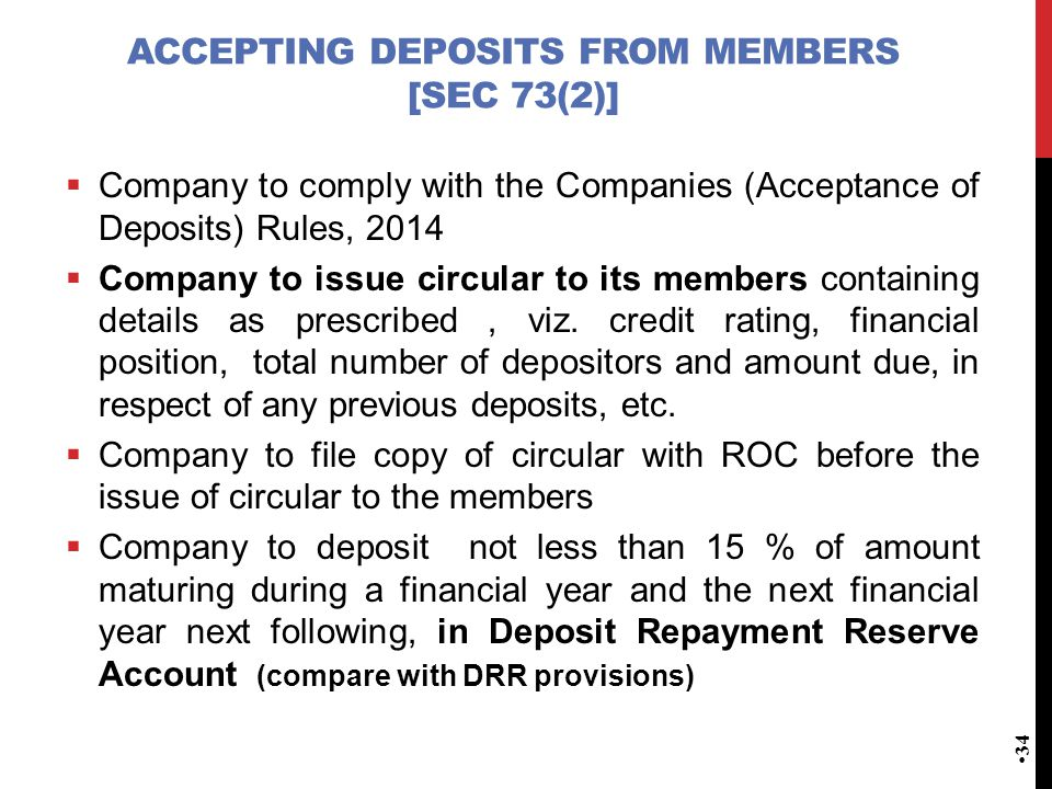 accepting deposits from members [Sec 73(2)]